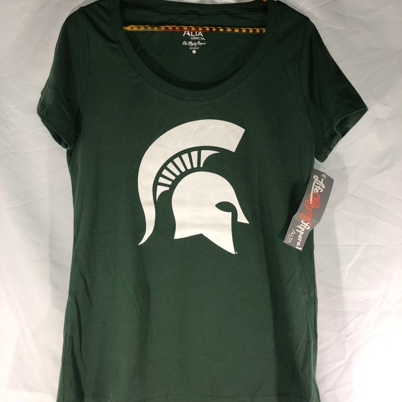Green Small Alta Gracia NCAA Michigan State Spartans Mens Long Sleeve R-Spun Tee